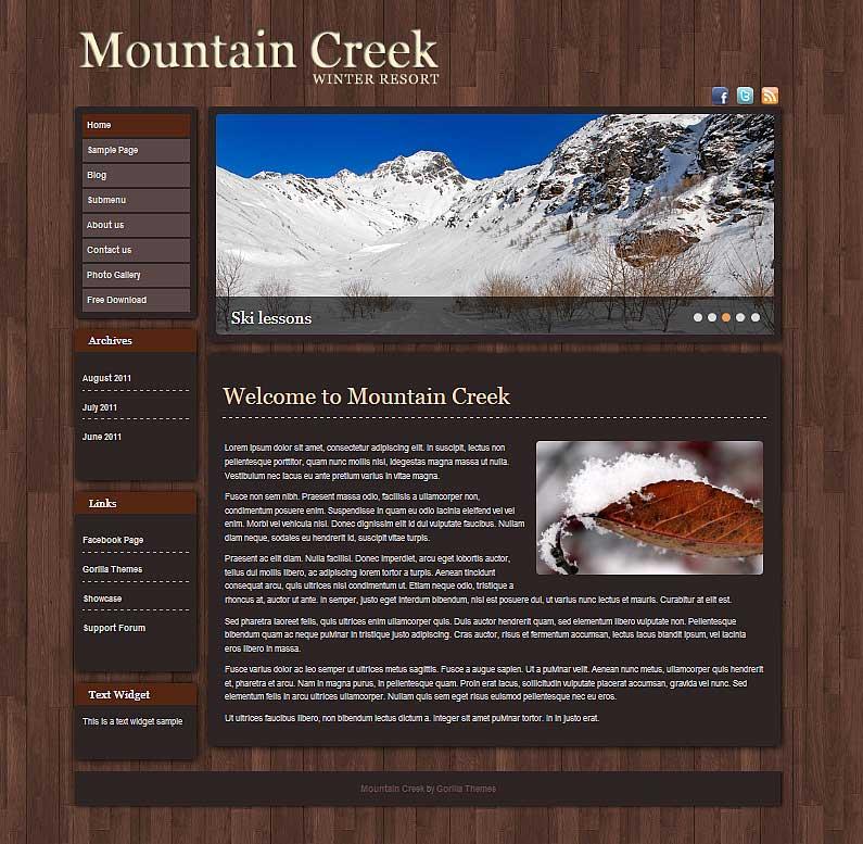 Mountain Creek - бесплатная тема WordPress